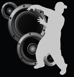 Man dancing and speaker vector