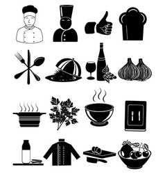 Chef restaurant icons set vector