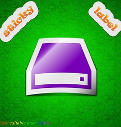 Cd-rom icon sign symbol chic colored sticky label vector