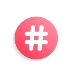 Red hashtag button with shadow vector