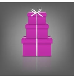 Stack of three realistic pink gift boxes with vector