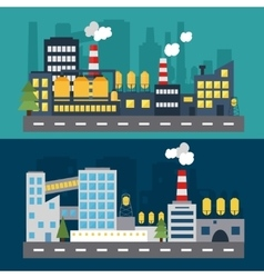 Factory landscape at evening and night vector