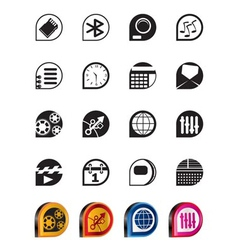 Simple phone performance and office icons vector