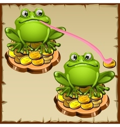 Two statue frog sit on coins FengShui talisman vector image
