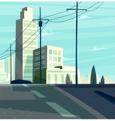 Beautiful sunrise over cartoon city with vector