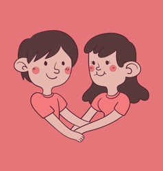 Couple holding hand forming a heart shape vector