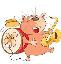 Cute Cat One-Man Band Cartoon vector image