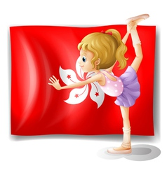 A ballet performer in front of the flag of vector