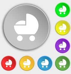 Baby pram icon sign symbol on eight flat buttons vector