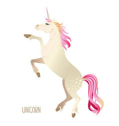 Beautiful watercolor unicorns set in pink and vector