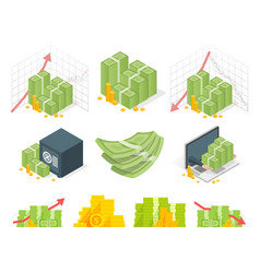 Big set of money icons piles dollars and coins vector