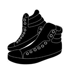 black sneakers on white background vector image