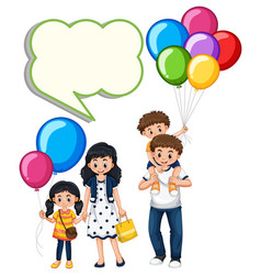 border template with family and balloons vector image vector image