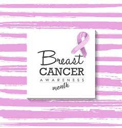 Breast cancer design with typography and ribbon vector image vector image