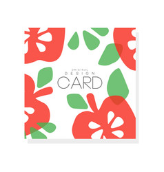Bright fruit card with red apples and green leaves vector