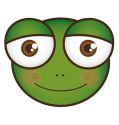 Cartoon frog animal head expression vector