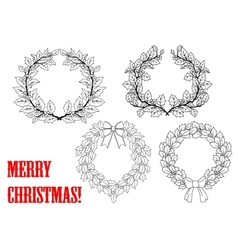 Christmas holly round wreaths vector image