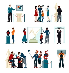 Color icons set of people visiting exhibition vector
