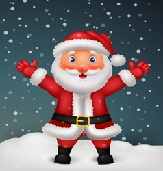 Cute Santa cartoon waving hand vector image