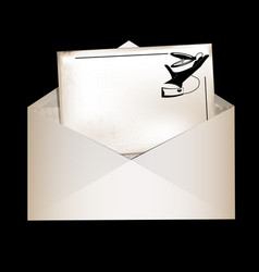 Dark envelope and retro card vector