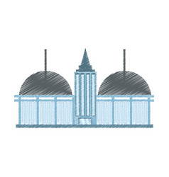 Drawing building shopping mall vector