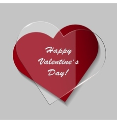 Elegant Valentines day card with glass heart vector image vector image