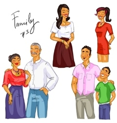 Family members isolated set 3 vector image vector image