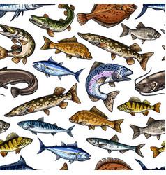 Fish sketch seamless pattern vector
