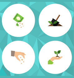 Flat icon seed set of care packet soil and other vector