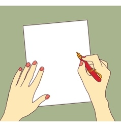 Hand with pen and paper writing color vector image