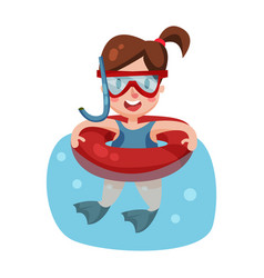 happy girl swimming with inflatable buoy and vector image