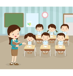 Kids studying in classroom vector