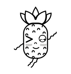 Line kawaii cute funny pineapple fruit vector