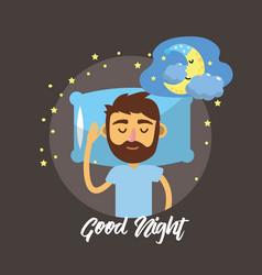 man sleeping and taking good night vector image