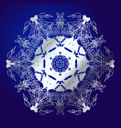 Mandala amulet esoteric silver symbol on a blue vector