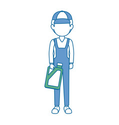Mechanic with gallon avatar character vector