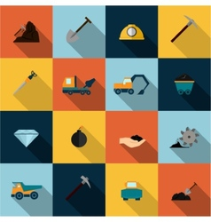 Mining icons set flat vector
