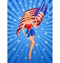 Pin-up blond patriotic woman vector image vector image