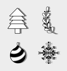 set merry christmas decoration desing to vector image