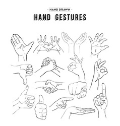 Set of handmade hand gesture icon elements vector
