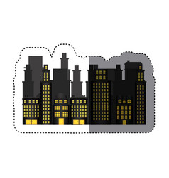 Sticker urban cityscape and residential apartments vector