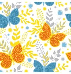 Vibrant blue and orange butterflies vector
