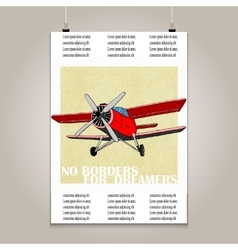 Vintage poster with high detail plane motivation vector