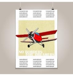 Vintage poster with high detail plane Motivation vector image