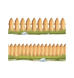 Wooden fences with grass and stones Seamless vector image