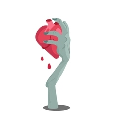 Zombie hand appear with torn heart isolated vector