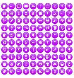 100 coffee icons set purple vector