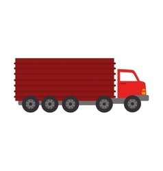 Red cargo truck icon vector