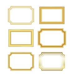 Gold frame simple golden white vector image