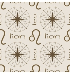 Astrology sign lion seamless pattern vector